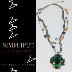Teal Amber Faux Gemstone Beaded Statement Necklace